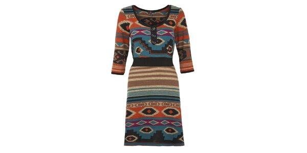 Dámské oranžovo-modré indiánské šaty Yumi