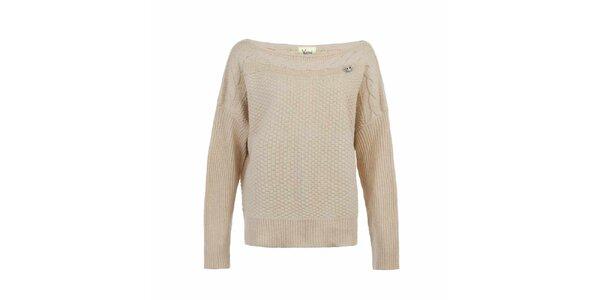 Dámský krémový svetr s plastickým vzorem Yumi