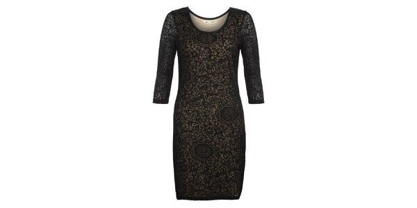 Dámské černé šaty s květinovým vzorem Yumi