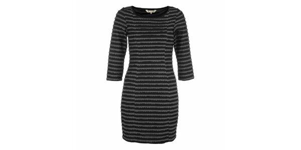 Dámské černé šaty s šedivými proužky Yumi