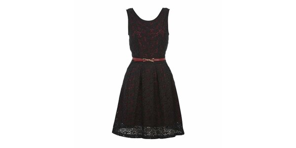 Dámské červenočerné šaty bez rukávů Yumi