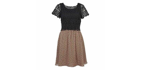 Dámské černohnědé šaty s krajkou Yumi