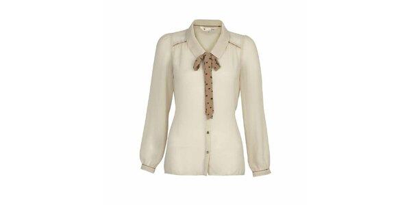 Dámská krémová košile s mašličkou Yumi