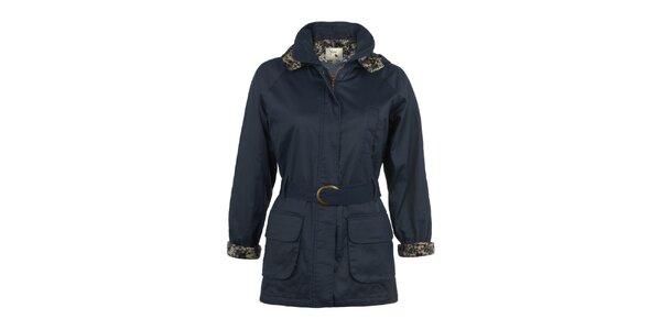 Dámský tmavě modrý kabát s páskem Yumi