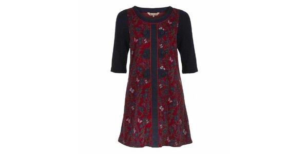 Dámské červené šaty s motýlky a tmavými rukávy Yumi