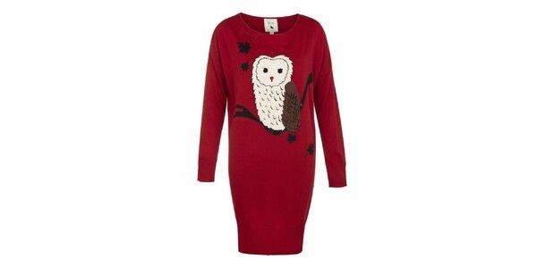 Dámské červené úpletové šaty se sovou Yumi