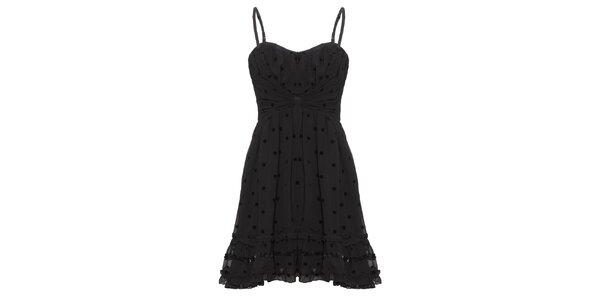 Dámské černé šaty s puntíky Yumi