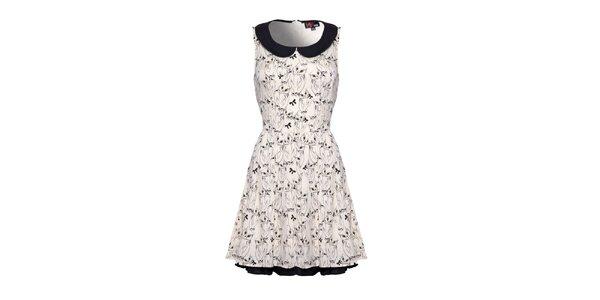 Dámské krémově bílé vzorované šaty bez rukávů Yumi