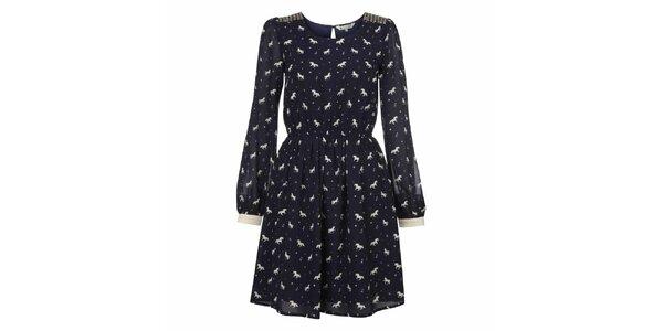 Dámské tmavě modré šaty s potiskem koníků Yumi