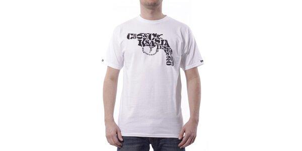 Pánské bílé tričko Crooks & Castles s černým potiskem