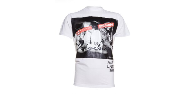 Pánské bílé tričko Phat Farm s foto potiskem