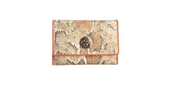 Dámská hnědobéžová peněženka s motivem hadí kůže Cavalli B.