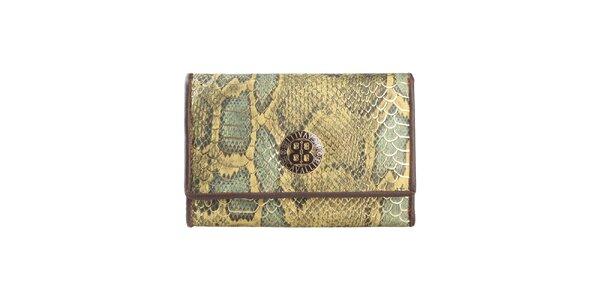 Dámská zelená peněženka s motivem hadí kůže Cavalli B.