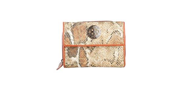 Dámská hnědobéžová peněženka s motivem hadí kůže a logem Cavalli B.