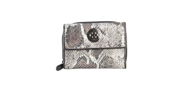 Dámská černá peněženka s motivem hadí kůže a logem Cavalli B.