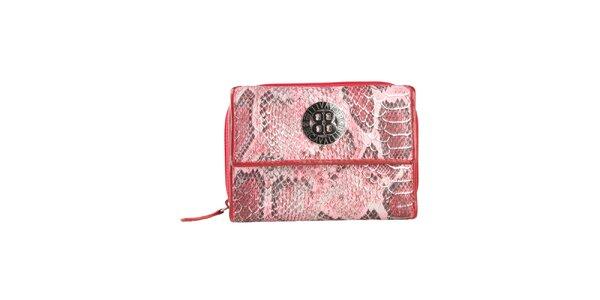 Dámská červená peněženka s motivem hadí kůže a logem Cavalli B.