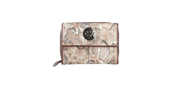 Dámská tmavě hnědá peněženka s motivem hadí kůže a logem Cavalli B.