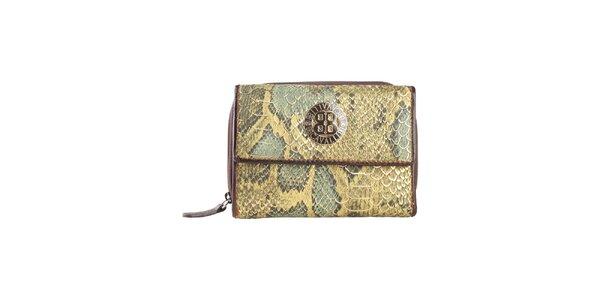 Dámská zelená peněženka s motivem hadí kůže a logem Cavalli B.