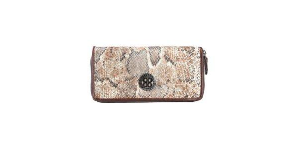 Dámská hnědobéžová peněženka s hadím vzorem Cavalli B.