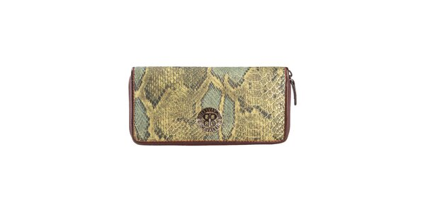 Dámská zelenohnědá peněženka s hadím vzorem Cavalli B.