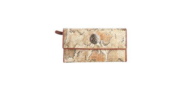 Dámská světle hnědá peněženka na patentku Cavalli B. s hadím vzorem