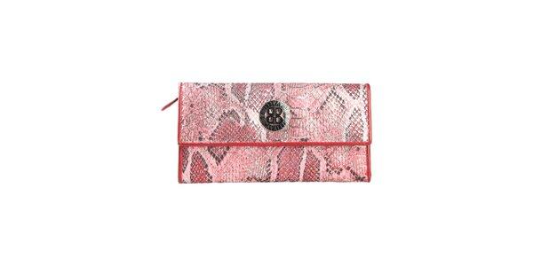 Dámská červená peněženka na patentku Cavalli B. s hadím vzorem