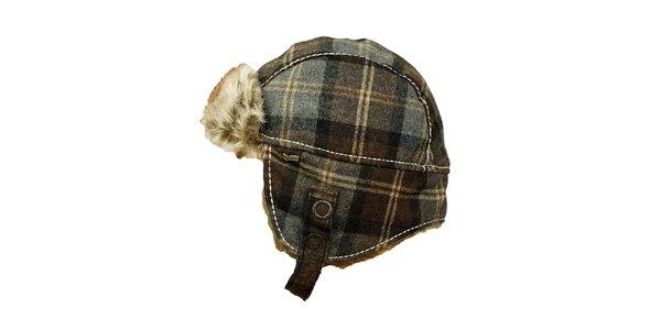 Károvaná čepice s umělým kožíškem GAS