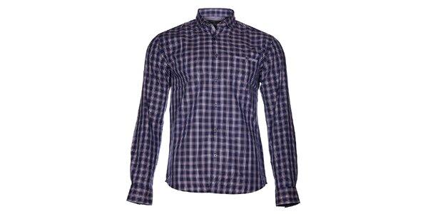 Pánská tmavě modrá kostkovaná košile Selected