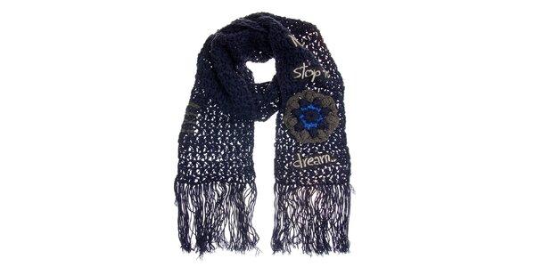 Dámská fialová pletená šála s třásněmi Desigual ed8d4c601e0