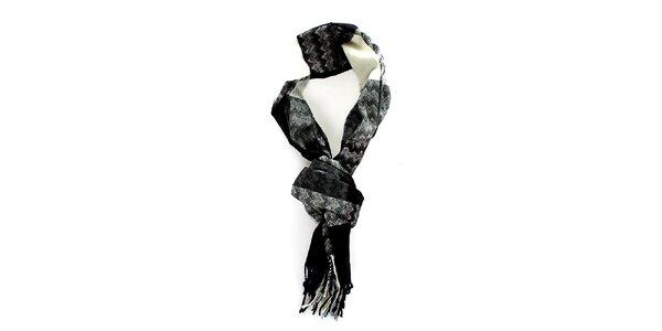 Pánská černo-šedo-bílá šála Fraas