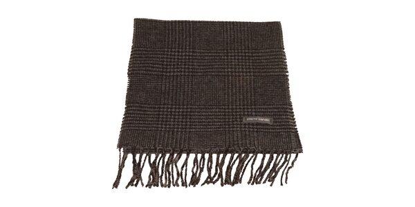 Černo-šedá kostkovaná šála s kohoutí stopou Pierre Cardin