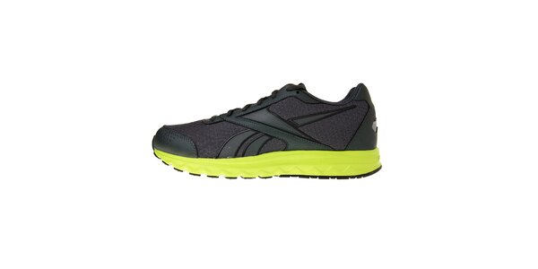 Pánské tmavě šedé běžecké boty Reebok se zelenou podrážkou