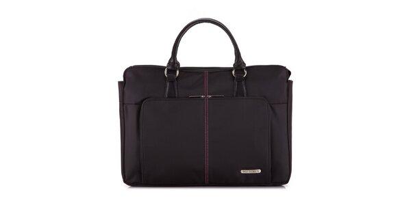 Dámská černá taška na notebook Wittchen s růžovými detaily