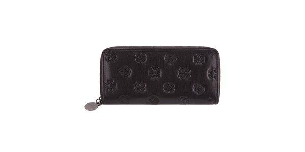 Dámská podlouhlá černá peněženka s raženými motivy Wittchen