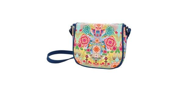 Dámská modrá taška přes rameno s barevným vzorem Catalina Estrada