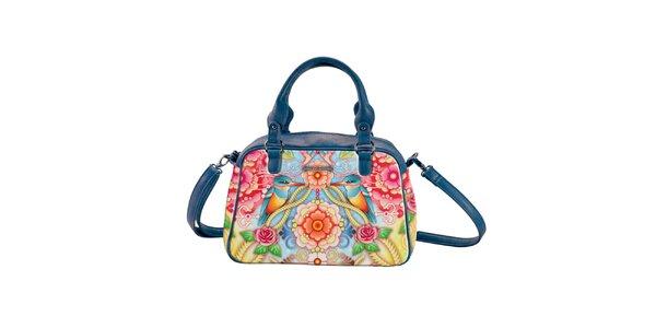 Dámská modrá kabelka s motivem ledňáčků a květin Catalina Estrada