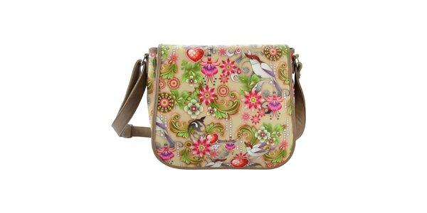 Dámská béžová taška přes rameno s barevným vzorem Catalina Estrada