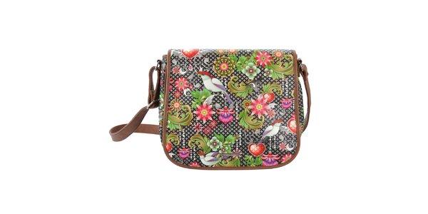 Dámská hnědá taška přes rameno s barevným vzorem Catalina Estrada