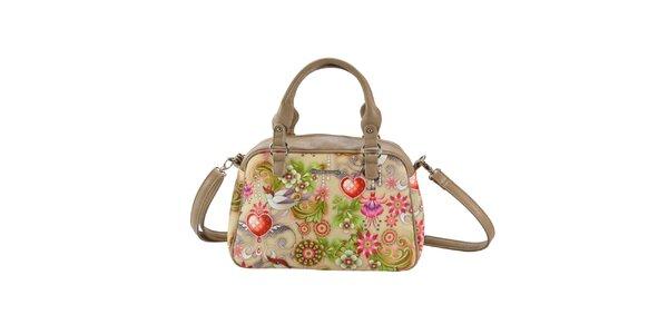 Dámská béžová kabelka s barevným vzorem Catalina Estrada