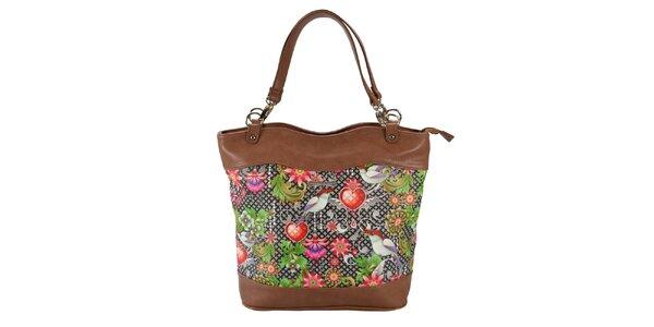 Dámská hnědá kabelka s květinami Catalina Estrada