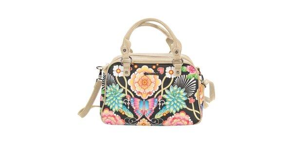 Dámská krémovočerná kabelka s barevným vzorem Catalina Estrada