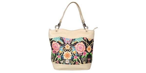 Dámská krémová kabelka s květinovým vzorem Catalina Estrada