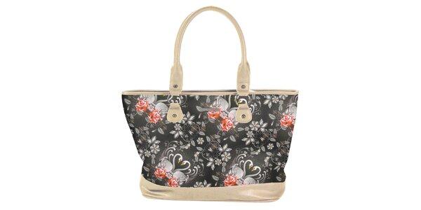 Dámská krémovočerná kabelka s květinami Catalina Estrada