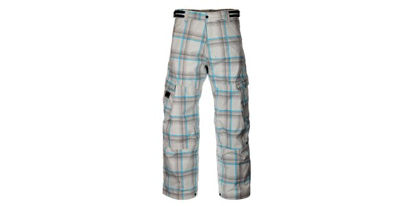 Pánské světle šedé kostkované kalhoty na snowboard Hannah