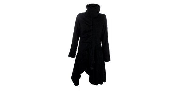 Dámský černý kabát s cípy Angels Never Die