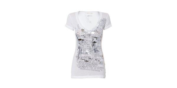 Dámské bílé tričko značky Gas se stříbrným potiskem