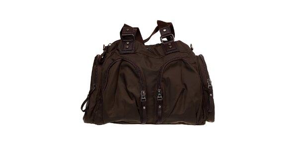 Dámská olivově zelená nylonová taška Buffalo s hnědými prvky