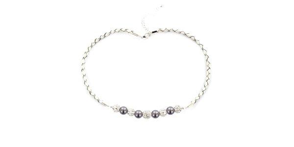 Dámský náhrdelník s fialovými perlami Swarovski Royal Adamas