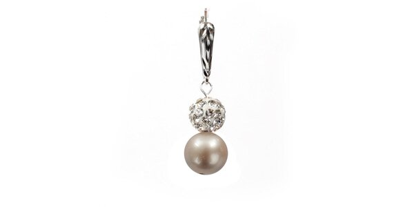 Dámské náušnice s oranžovorůžovou perlou Swarovski a stříbrným zapínáním Royal…