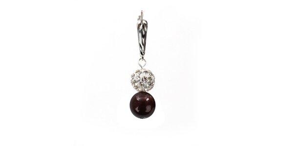 Dámské náušnice s hnědočervenou perlou Swarovski a stříbrným zapínáním Royal…